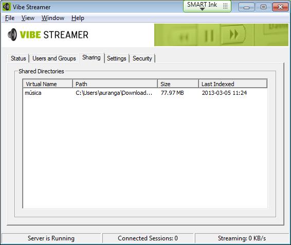 Recursos compartidos en Vibe Streamer