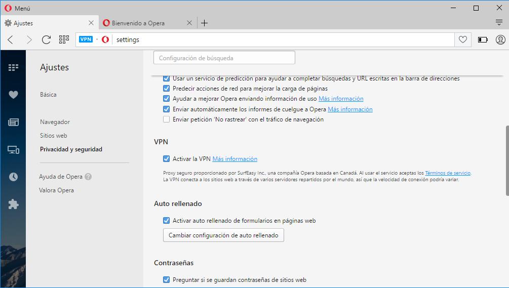 Servicio VPN integrado gratuito en el navegador Opera