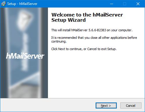 hMailServer - Pantalla de bienvenida