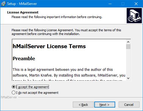 hMailServer - Aceptar la licencia