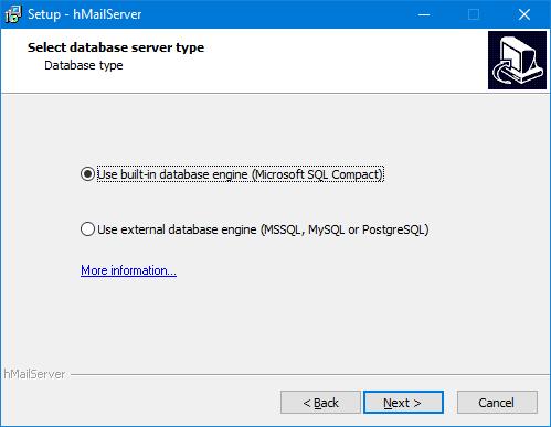 hMailServer - Base de datos
