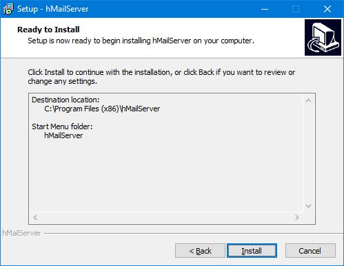 hMailServer - Preparado para instalar