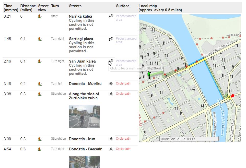 Hoja de ruta en CycleStreet