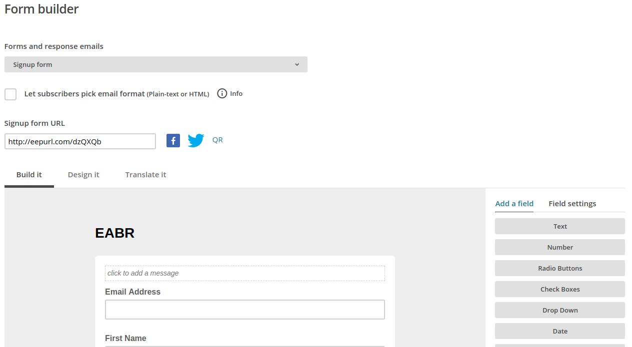 Form builder in Mailchimp.com