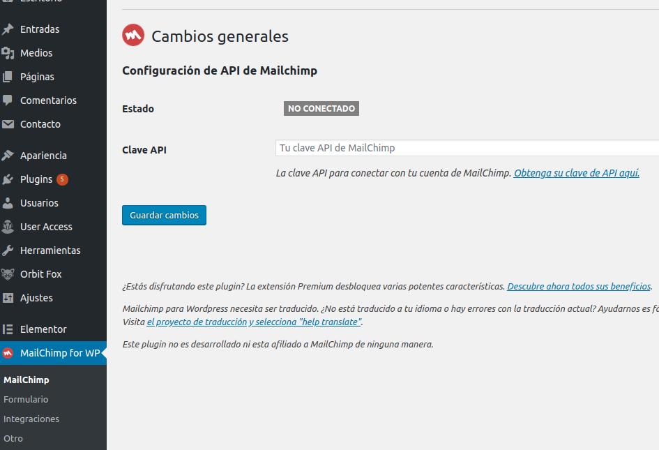 Maiclhimp for WordPress plugina