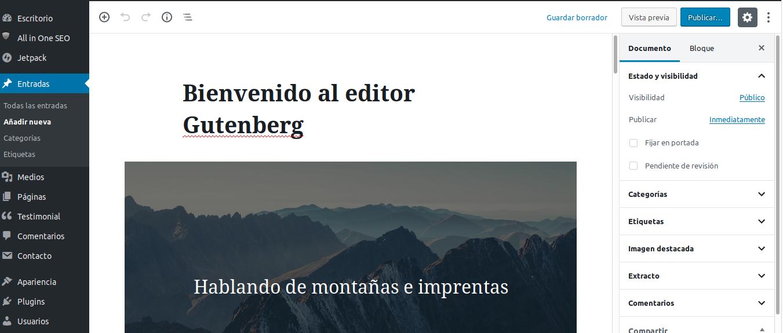 Editor Gutenberg en Wordpress 5.0