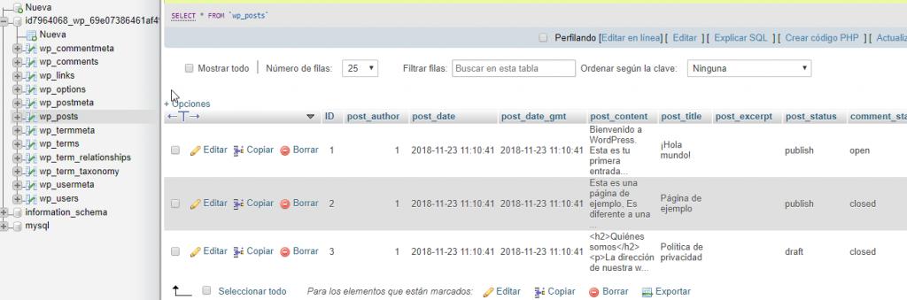Tabla wp-posts en phpMyAdmin