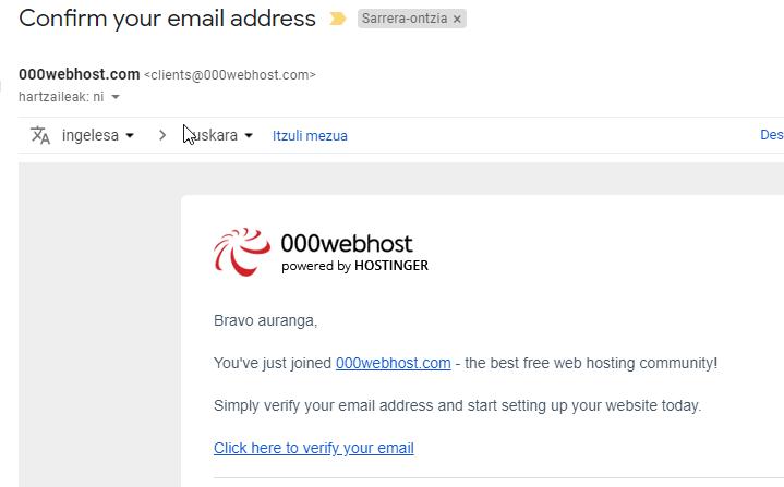 Verificar el correo electrónico para usar 000webhost